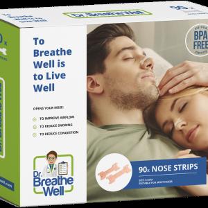 dr. breathe well anti snurk neuspleisters verpakking geen achtergrond schaduw wijd